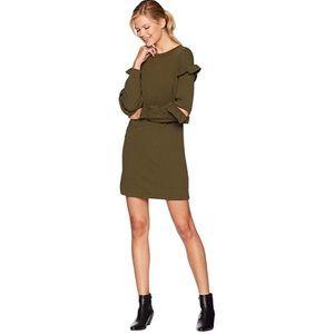 Eci Ruffle Mini Knit Dress NWT Olive